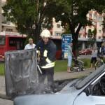 Autoturism în flăcări la Alba Iulia