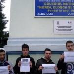 Protest la Alba Iulia împotriva protocolului semnat între Ministerul Educației Naționale și Biserica Ortodoxă Română