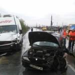 Coliziune între o autoutilitară și un autoturism, pe șoseaua de centură a municipiului Alba Iulia