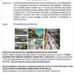 """Primăria anunţă începerea Dezbaterii Publice și Consultarea Publicului cu privire la """"PLANUL DE MOBILITATE URBANĂ DURABILĂ MUNICIPIUL ALBA IULIA"""""""